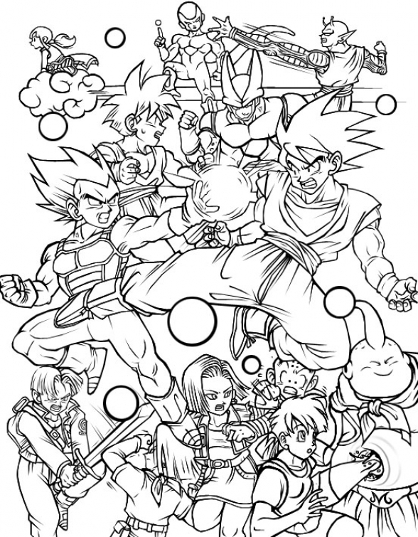 588x755 All Characters In Dragon Ball Z Free Printable Coloring Page