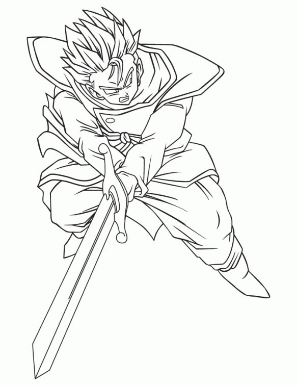 583x755 Gohan With Zeta Sword In Dragon Ball Z Printable Coloring Page