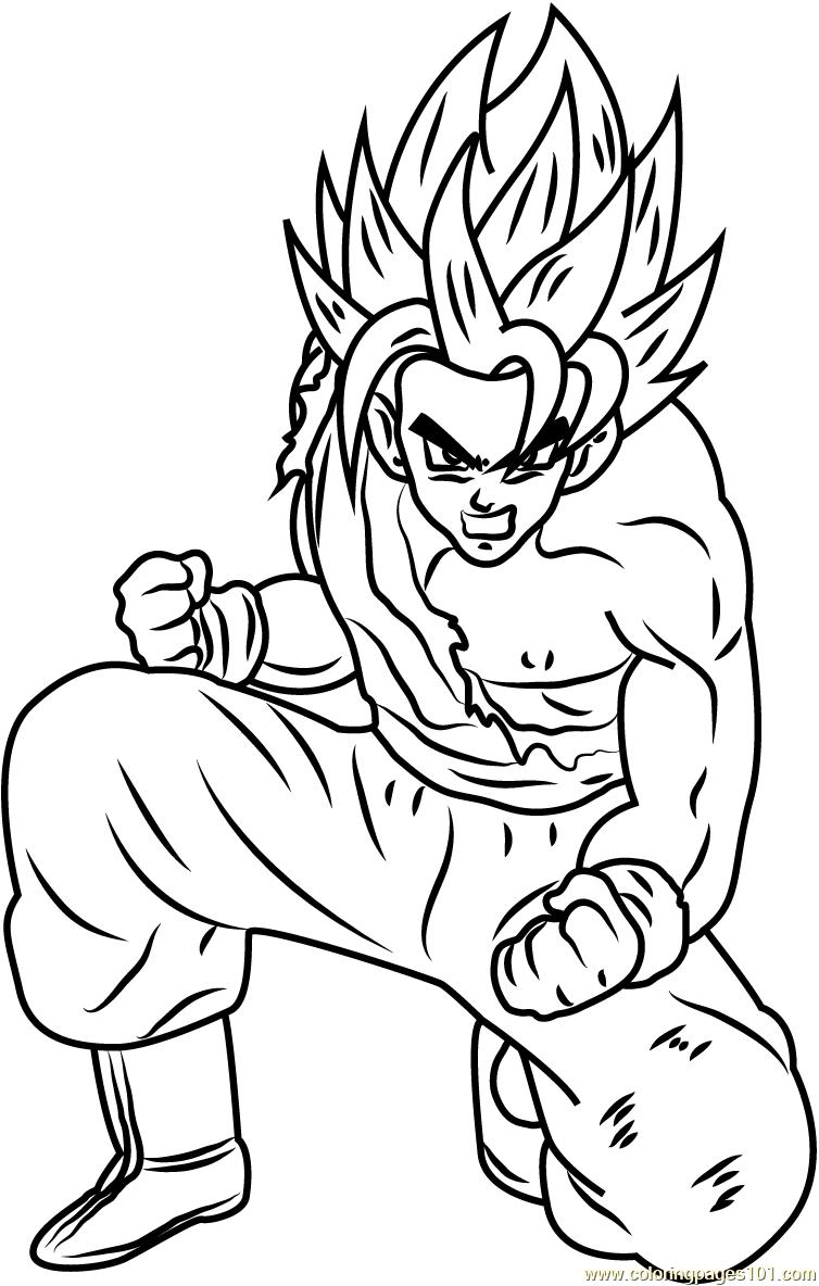 754x1184 Son Goku Dragon Ball Z Coloring Page