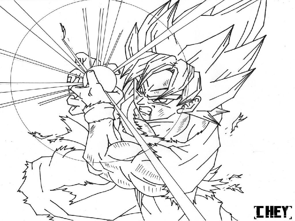 1024x768 Dragon Ball Z Coloring Pages Printable
