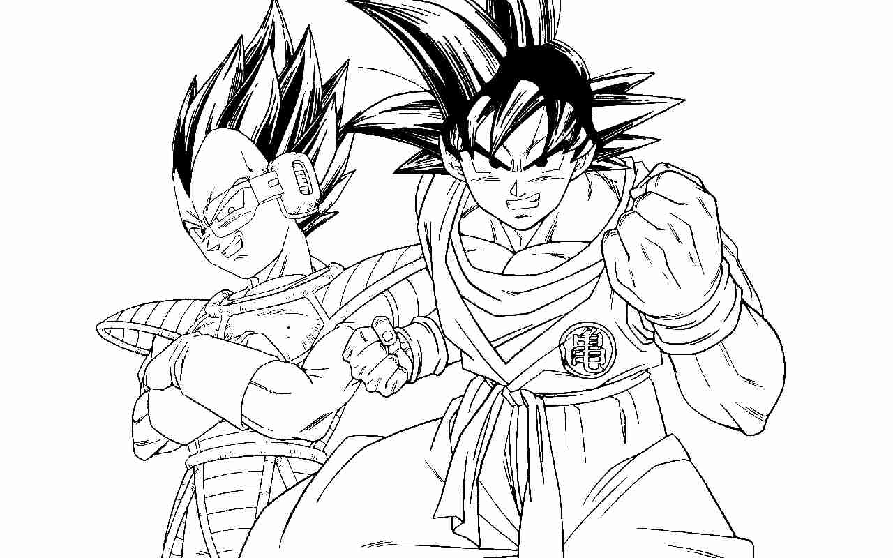 1280x800 Dragon Ball Z Coloring Pages Vegeta And Goku Many Interesting