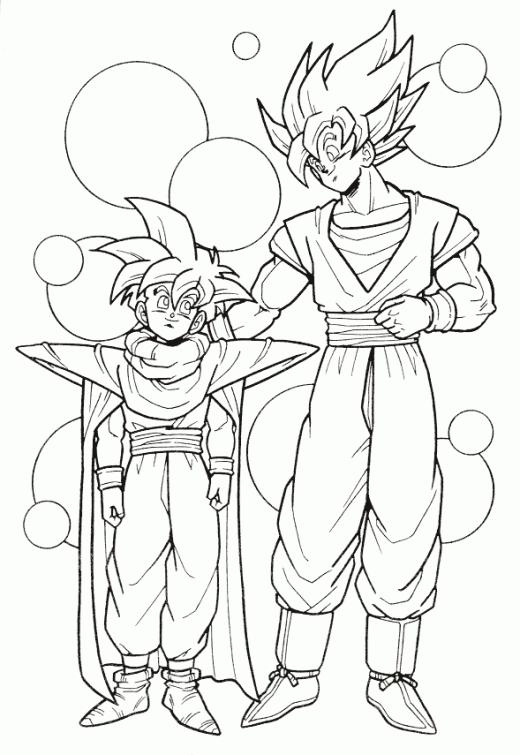 520x755 Dragon Ball Z Goku And Gohan Super Saiyan Coloring Page Japanese