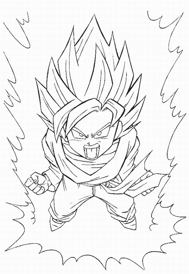 620x898 Dragon Ball Z Coloring Pages Super Saiyan Transform