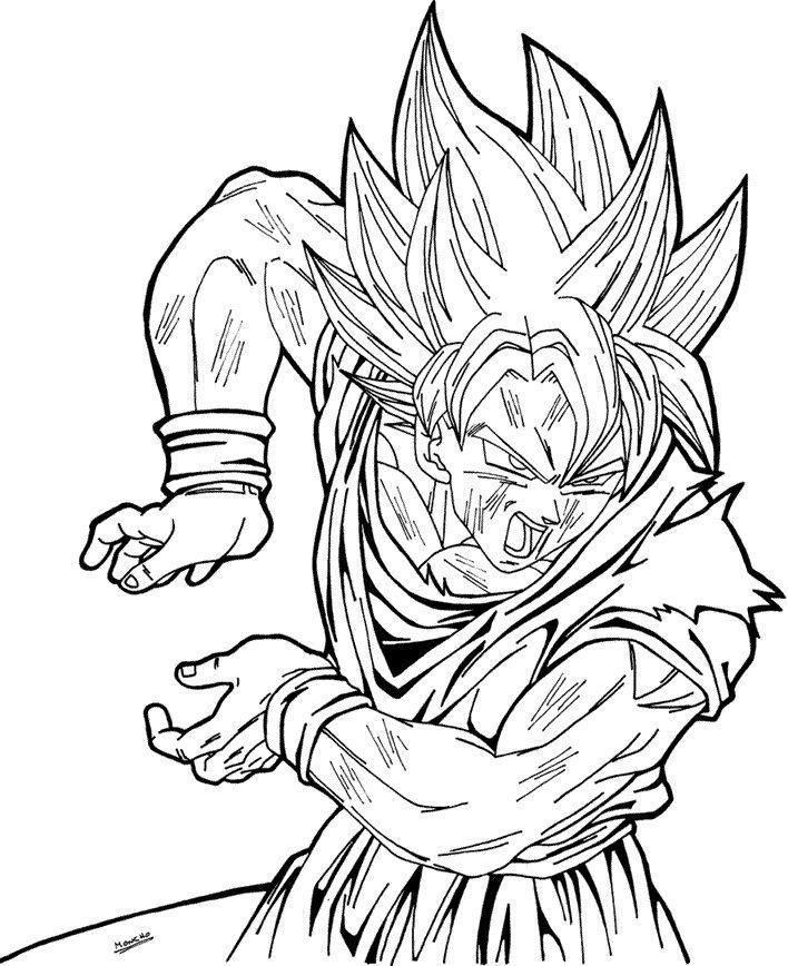 708x868 Goku Super Saiyan Coloring Pages Drawings Goku