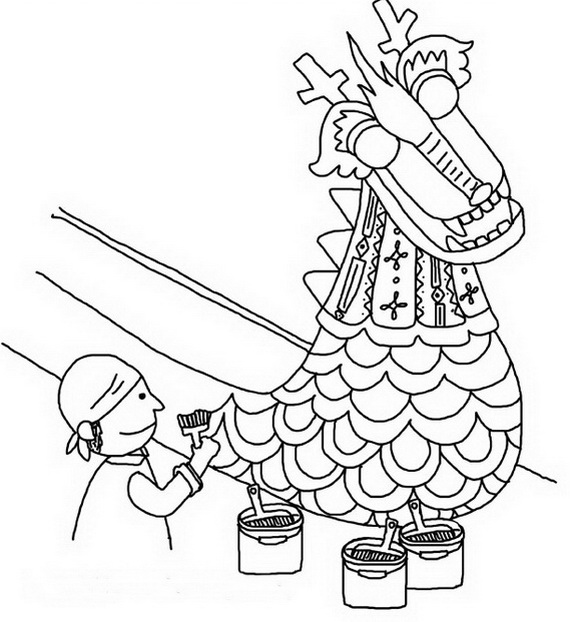 570x622 Chinese Dragon Boat Festival Coloring Pages Dragon Boat Festival