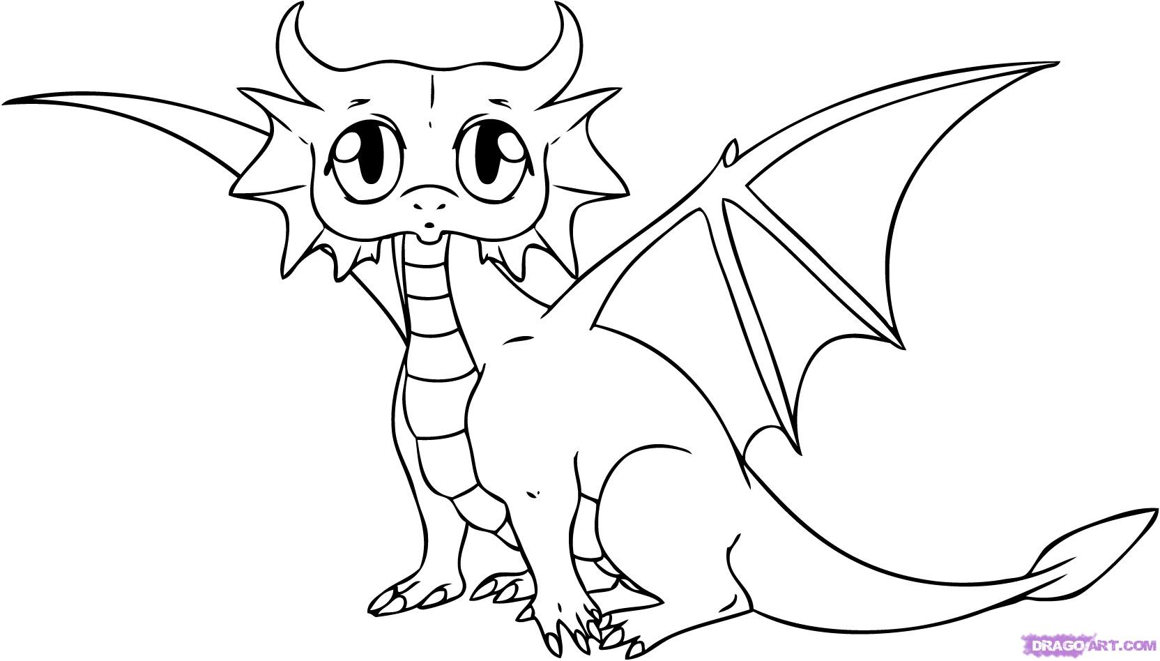 1664x948 Cute Dragon Coloring Pages