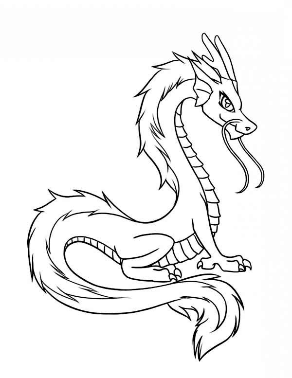 600x777 Dragon, Chinese Dragon Illustration In Cartoon Coloring Page