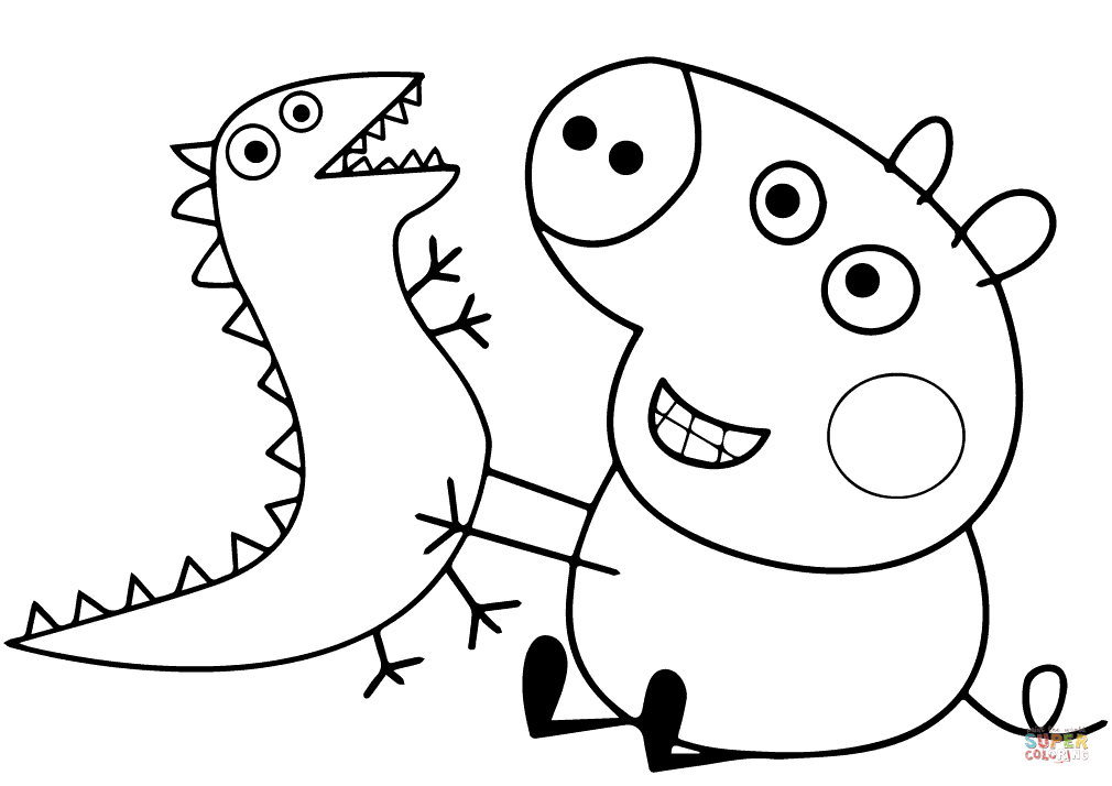 1010x714 George Pig Plays With Dragon Cartoon Coloring Page