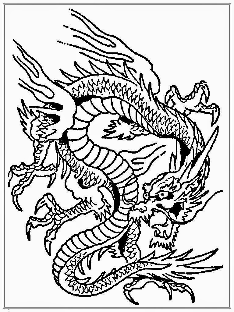768x1024 Dragon Coloring Pages For In Adults Difficult Dragons