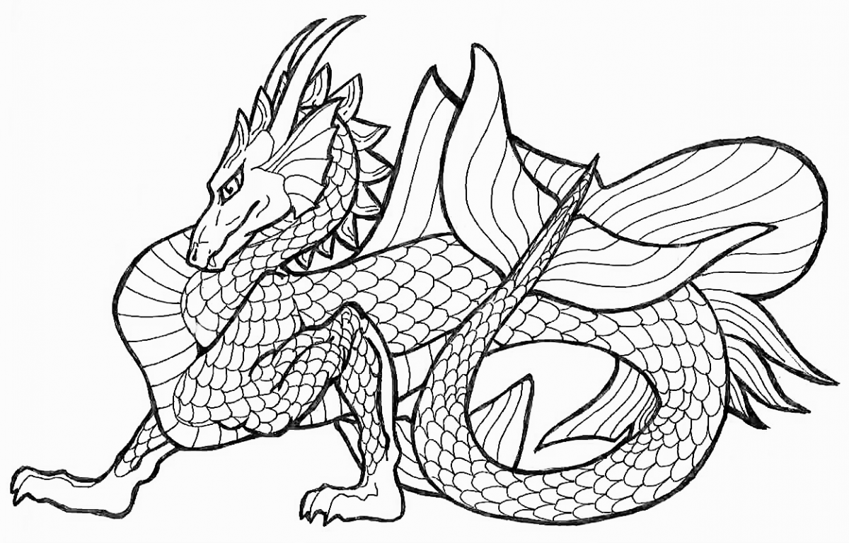 1200x768 Real Dragon Coloring Pages