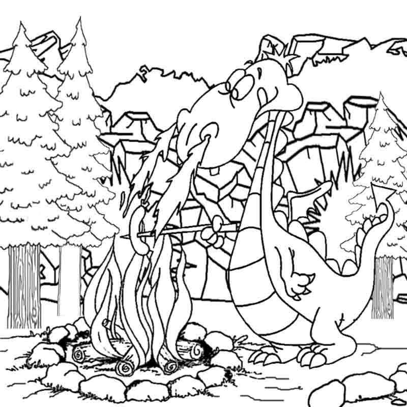 800x800 Dragon Coloring Pages Online