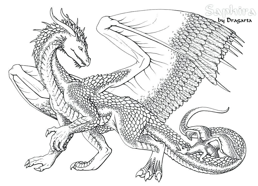1000x723 Dragon Coloring Page
