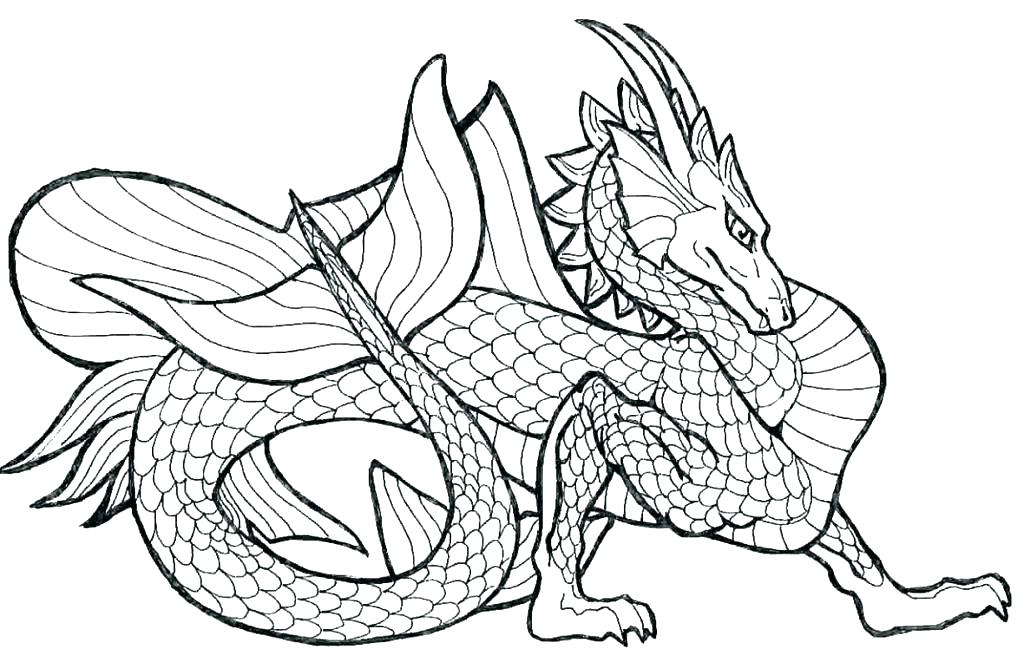 1024x669 Dragon Colouring Pages Pdf Coloring Realistic Also Free Printable