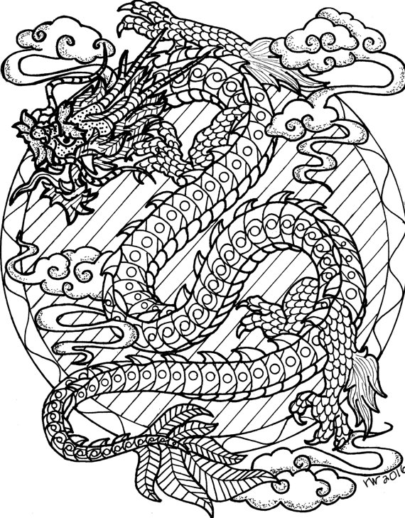 570x729 Coloring Page, Zentangle, Chinese Dragon Digital Coloring Pdf