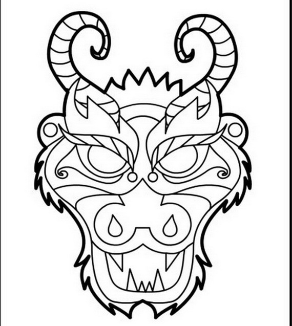 570x637 Chinese Dragon Face Coloring Page