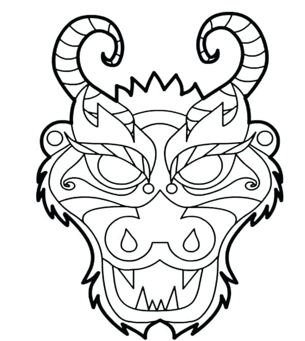 600x671 Chinese New Year Dragon Face Coloring Page Pages Free Download N