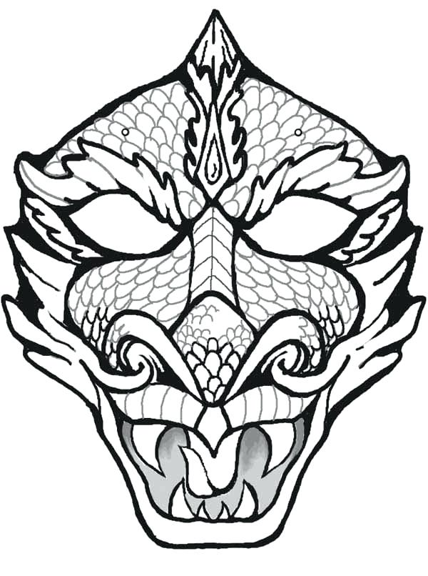 600x806 Beautiful Dragon Face Coloring Page Or Mask Coloring Page Dragon