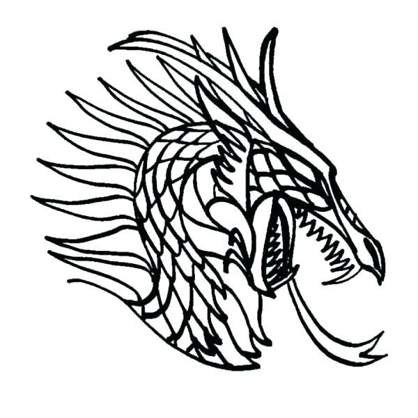 600x600 Dragon Head Coloring Page