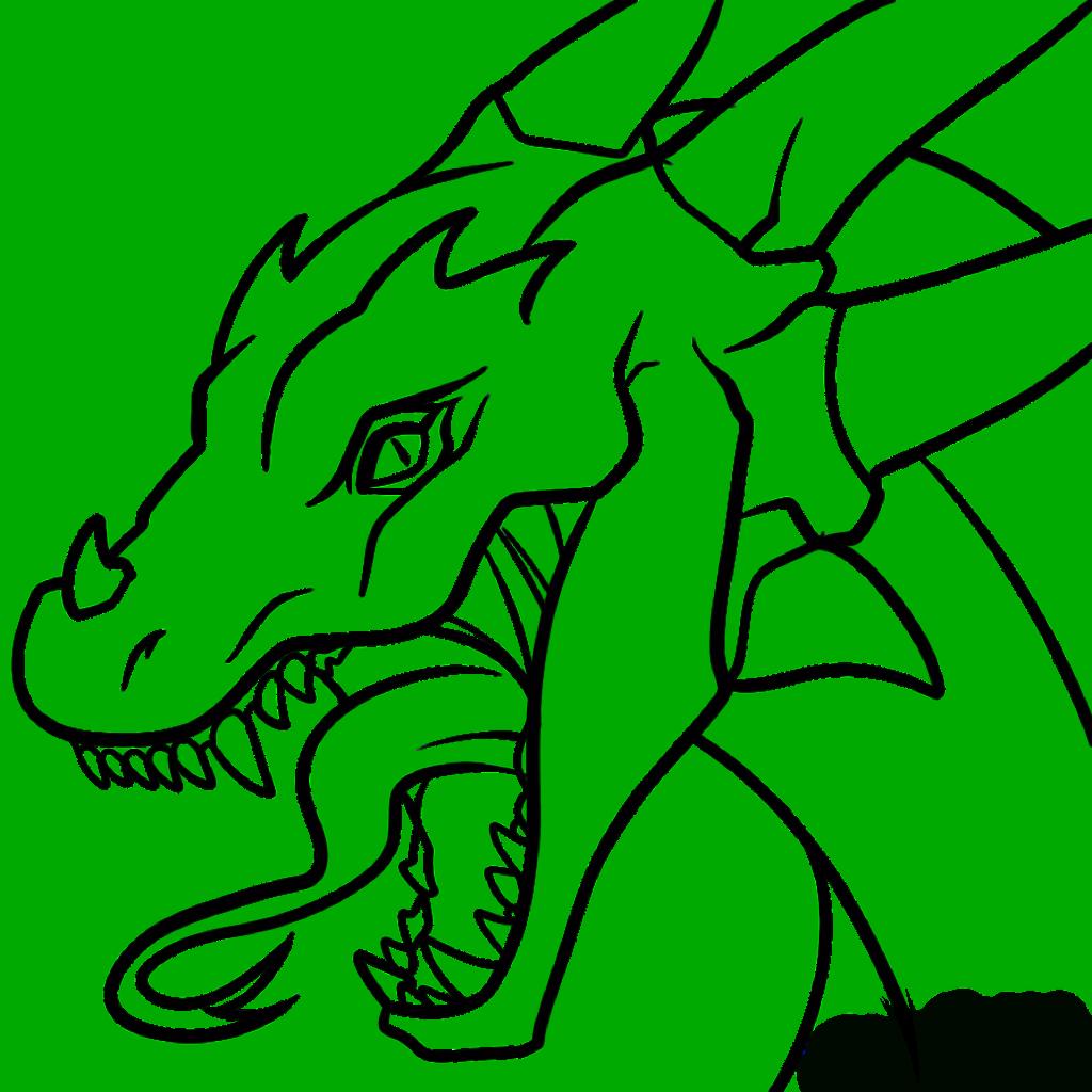 1024x1024 Dragon Head Coloring Page