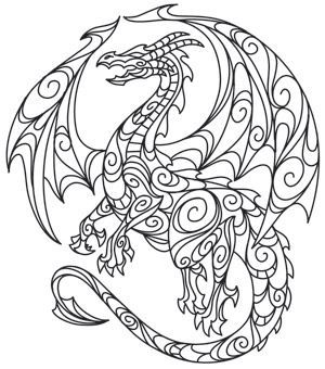 300x340 Dragon Free Printable Coloring Pages Adult Coloring Book