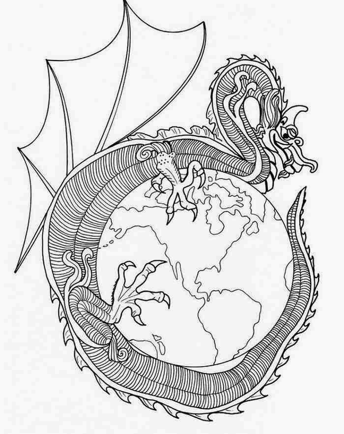 700x882 Dragon Mandala Coloring Pages