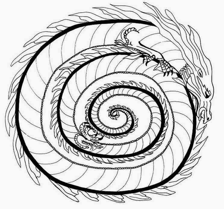 744x695 Animal Fire Dragon Mandala Coloring Pages Mandalas