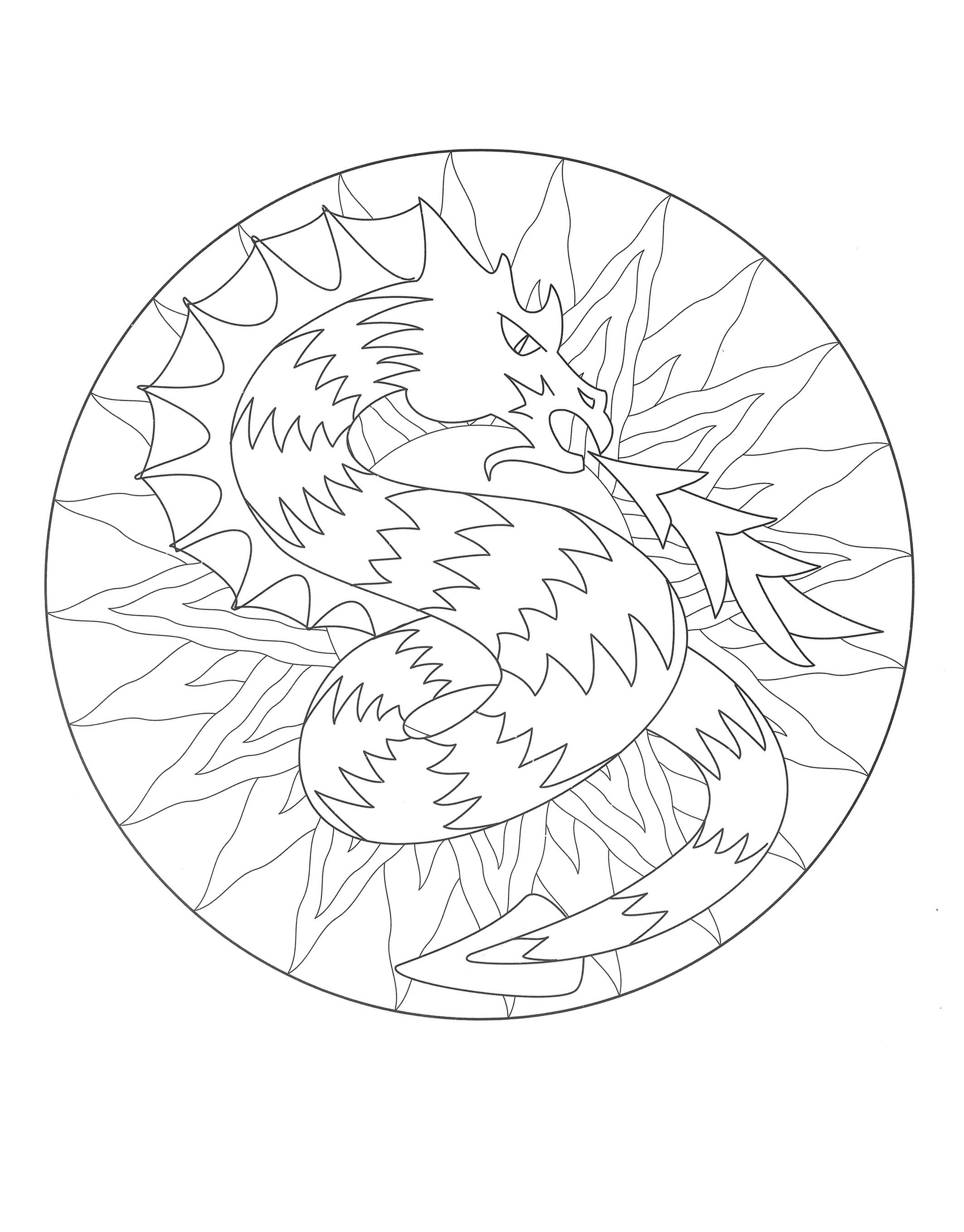 2126x2717 Free Mandala Coloring Page, Representing A Dragon To Download