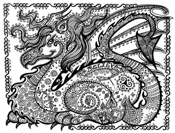 570x431 Printable Coloring Page Dragon Instant Download Door Chubbymermaid