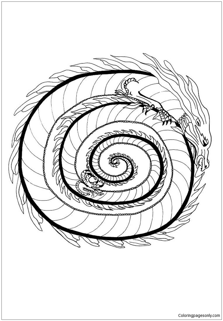 762x1099 Awesome Dragon Mandala Coloring Pages Gallery Printable Coloring