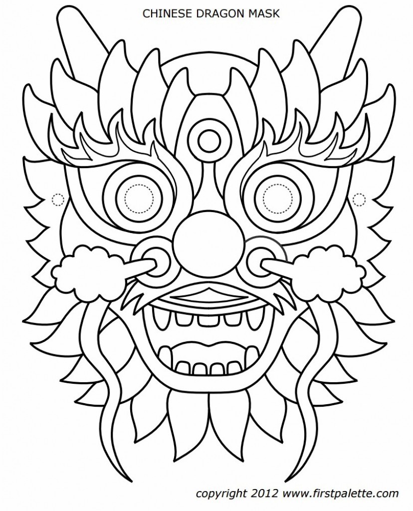 828x1024 Chinese Dragon Mask Coloring Page
