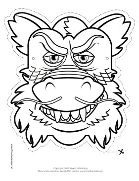 281x364 Chinese Dragon Mask To Color Printable Mask, Free To Download