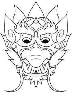 236x305 Chinese New Year Dragon Mask Coloring Page Spoonful The Hobbit