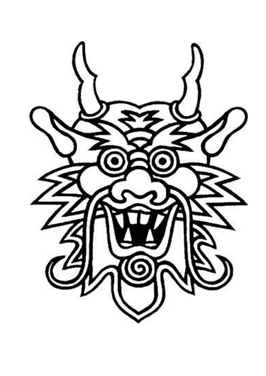 531x750 Coloring Page Dragon Mask