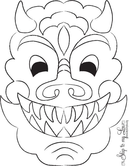 500x643 Halloween Craft Masks Templates Chinese New Year Craft Dragon