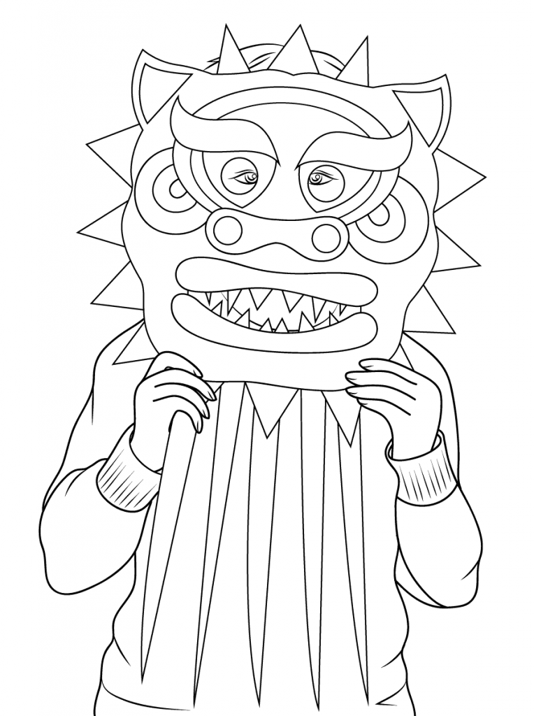 764x1024 Chinese Culture Dragon Mask Coloring Pages