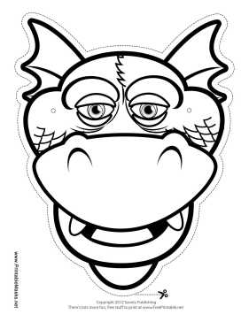 281x364 Printable Silly Dragon Mask To Color Mask