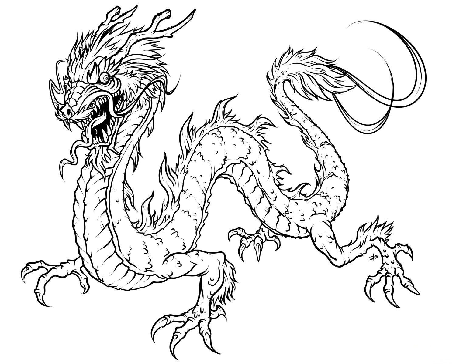 1500x1200 Chinese Dragon Mask Coloring Page