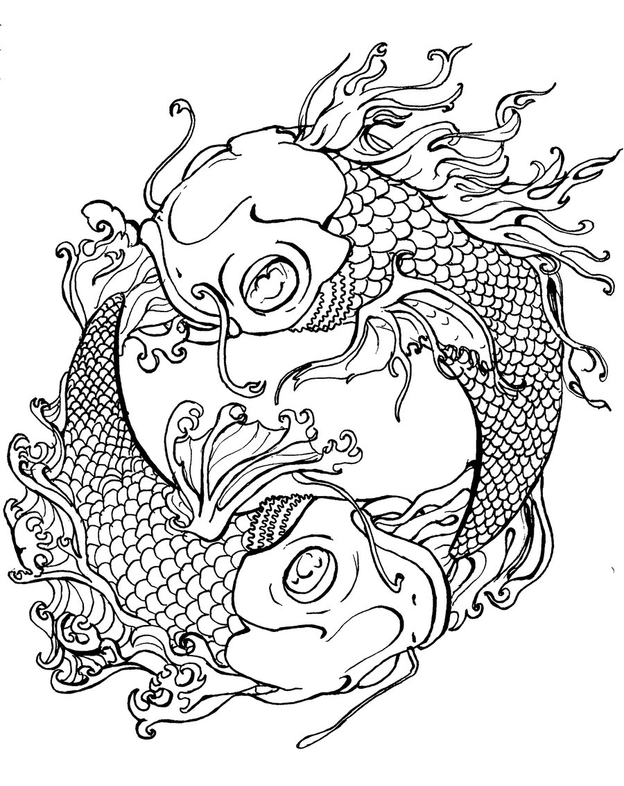 900x1133 Japanese Koi Coloring Pages Download And Print For Free Adult