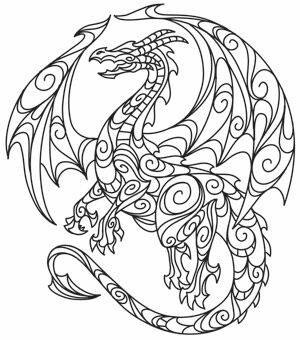 300x340 Dragons Adult Coloring