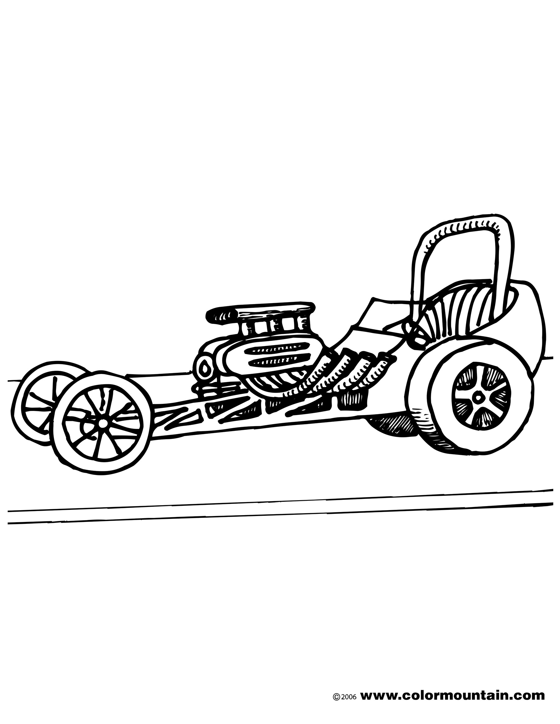 1800x2329 Dragster Coloring Pages