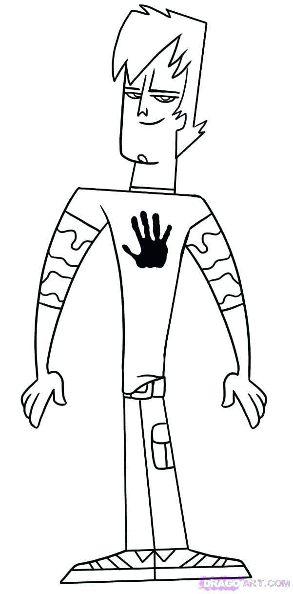 601x1216 Total Drama Coloring Pages Mighty Total Drama Coloring Sheets