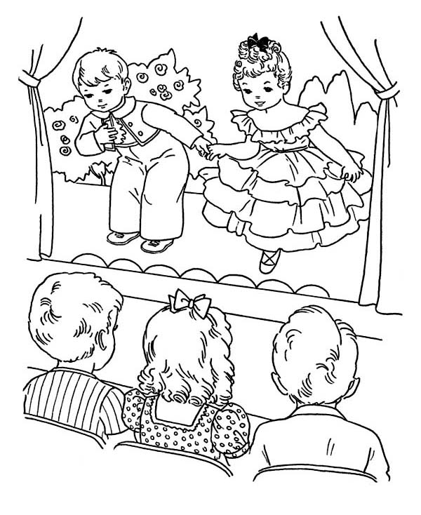 600x734 Kids Playing Drama On Winter School Performing Coloring Page