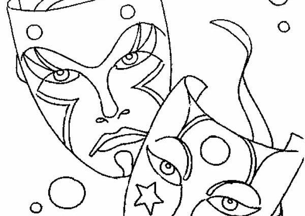 600x425 Drama Mask Coloring Pages Mardi Gras Comedy Tragedy Mask As Mardi