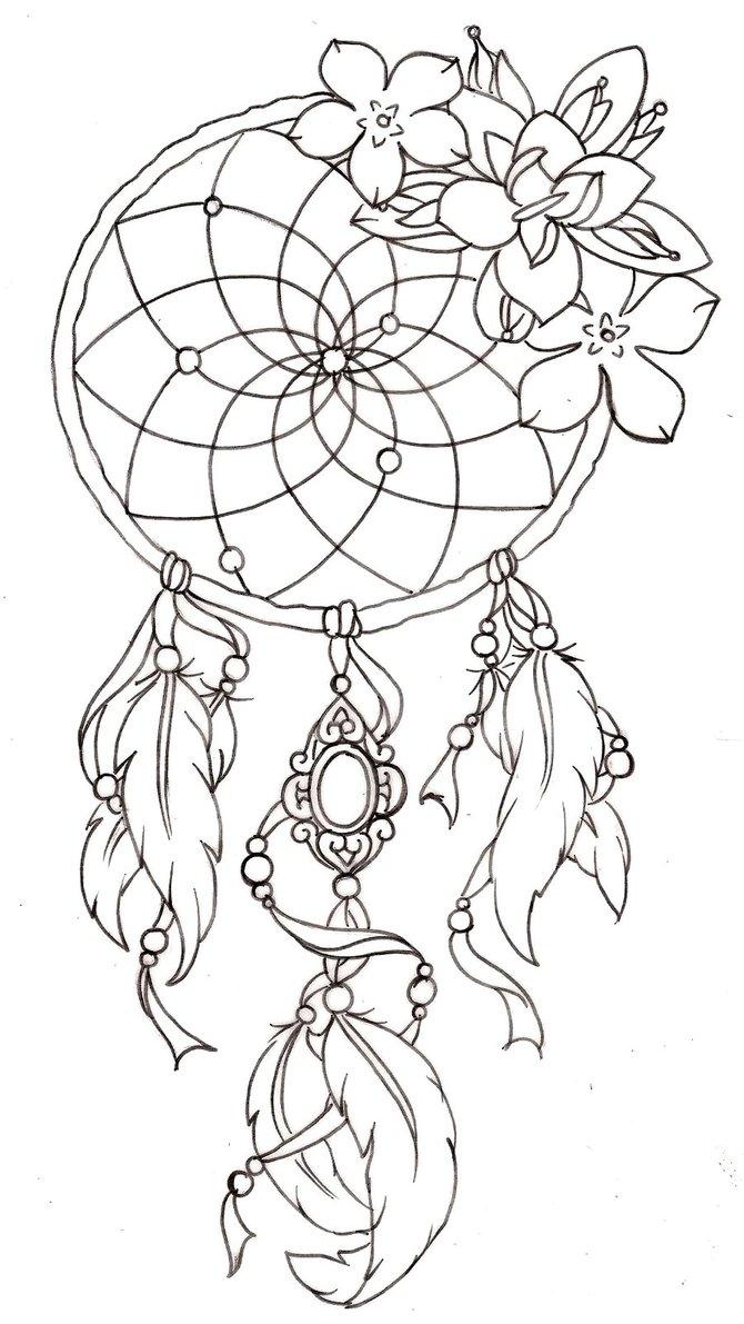 670x1191 Dreamcatcher Coloring Page