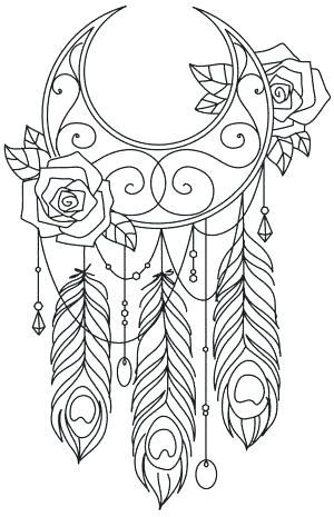 300x465 Dreamcatcher Coloring Pages Drawn Tribal Print Dream Catcher