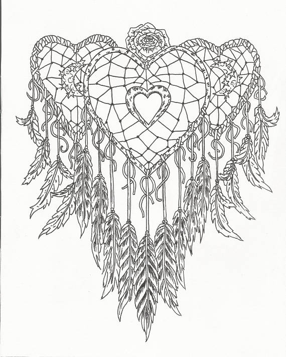 570x711 Dream Catcher Coloring Pages Heart Dream Catcher Coloring Page