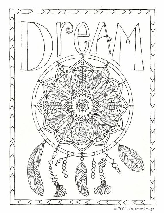 570x737 Dream Catcher Coloring Pages For Adults Dream Coloring Page Pdf