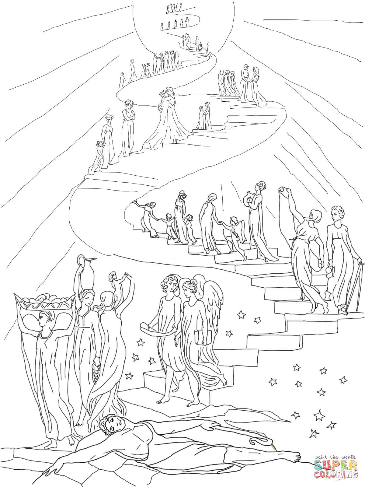 1200x1600 Nice Jacob S Ladder Coloring Pages Dream Page Free Printable