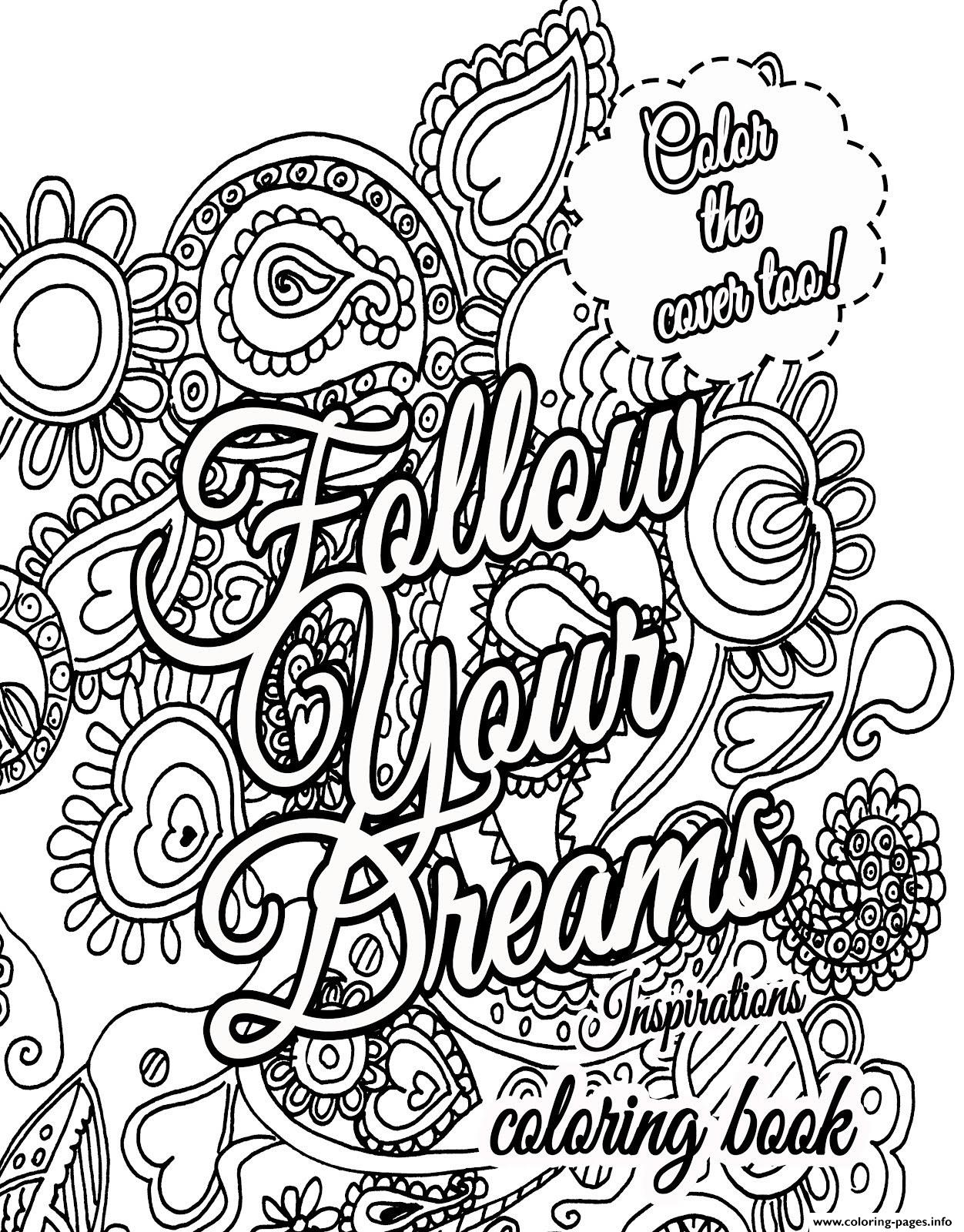 1252x1600 Quote About Dream For Adults Coloring Pages Printable New