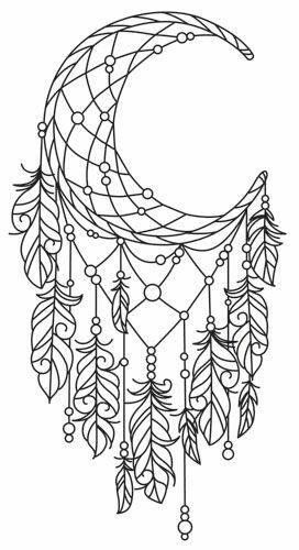 272x500 Moon Dreamcatcher Colouring Page Macetas Mandalas